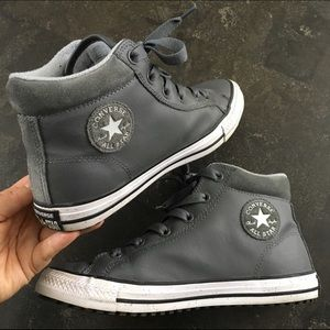 Gray leather converse high top sneakers shoes 6